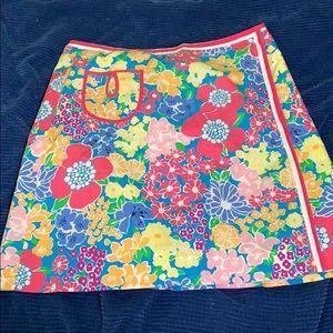 Lilly Pulitzer sz 10 cotton wrap skirt big flowers